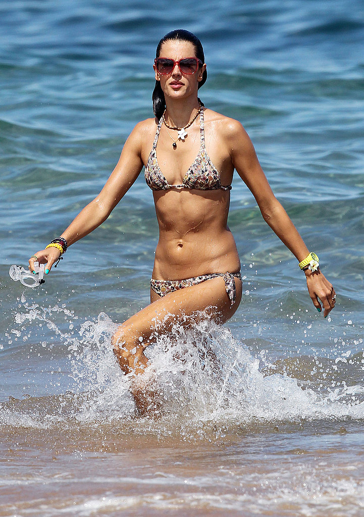 Alessandra Ambrosio swims the Pacific.