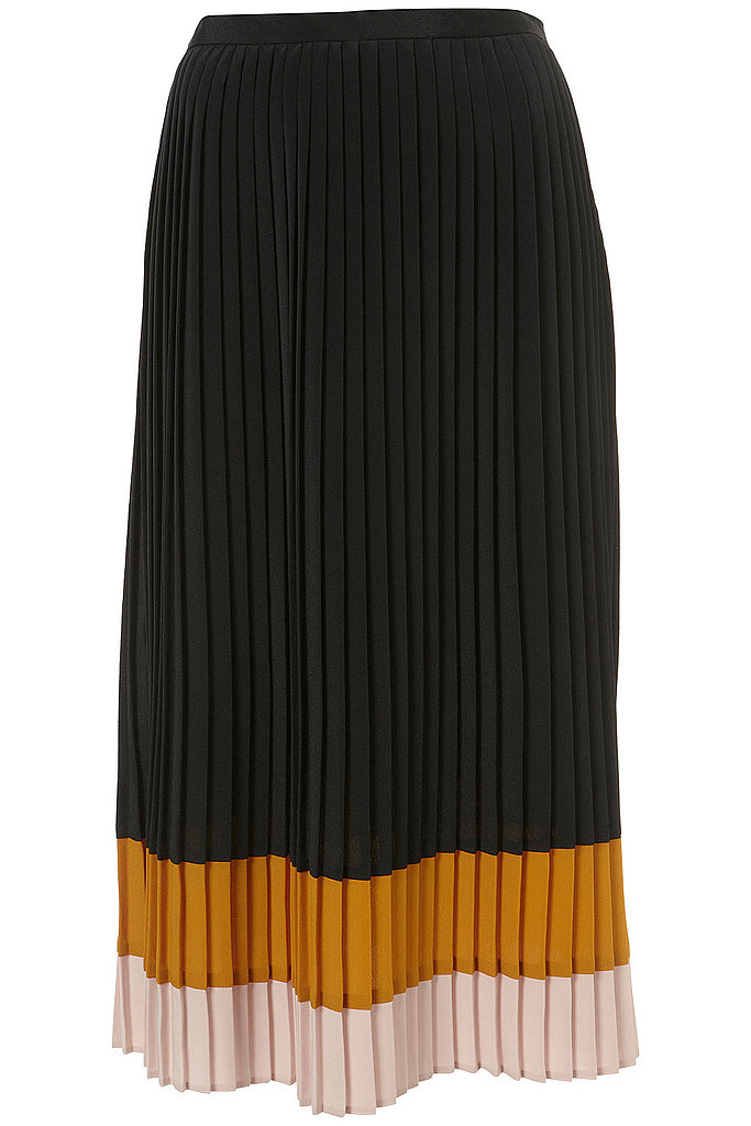 Colorblock: This colorblock midi skirt kills two trends with one stone. We like how the pleated detail makes it an easy fit, perfect for pairing with a cozy cropped sweater and ankle booties. Topshop Colorblock Pleat Skirt ($80)