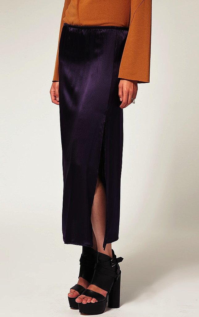 Svelte slits: This silky side-slitted design shows just the right amount of skin. We'd wear it with a sheer blouse for a sexy chic nighttime look, or with a tee for casual day around town. LnA Silk Skirt ($181)