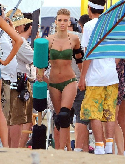 Annalynne McCord Rocks a Green Bikini For a Day of Jousting on Set
