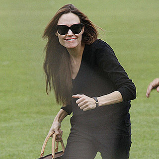 Angelina Jolie Arriving in London Via Helicopter Pictures
