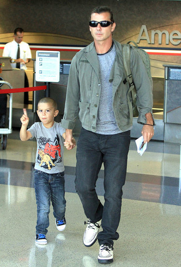 Kingston Rossdale Rocks His Newly Shaved Head Departing With Daddy Gavin