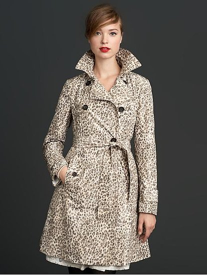 This slick trench can snazz up any look whether you decide to go rocker chic via black skinny jeans and point-toe pumps or more streamlined with a black dress and fancy ballet flats for a business meeting with a potential client. Mad Men Collection Leopord Print Trench ($198)
