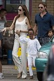 Angelina Jolie and Brad Pitt with their kids in the UK.