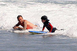 Shirtless David Beckham Shows His Boys and Friends the Boogie-Boarding Ropes