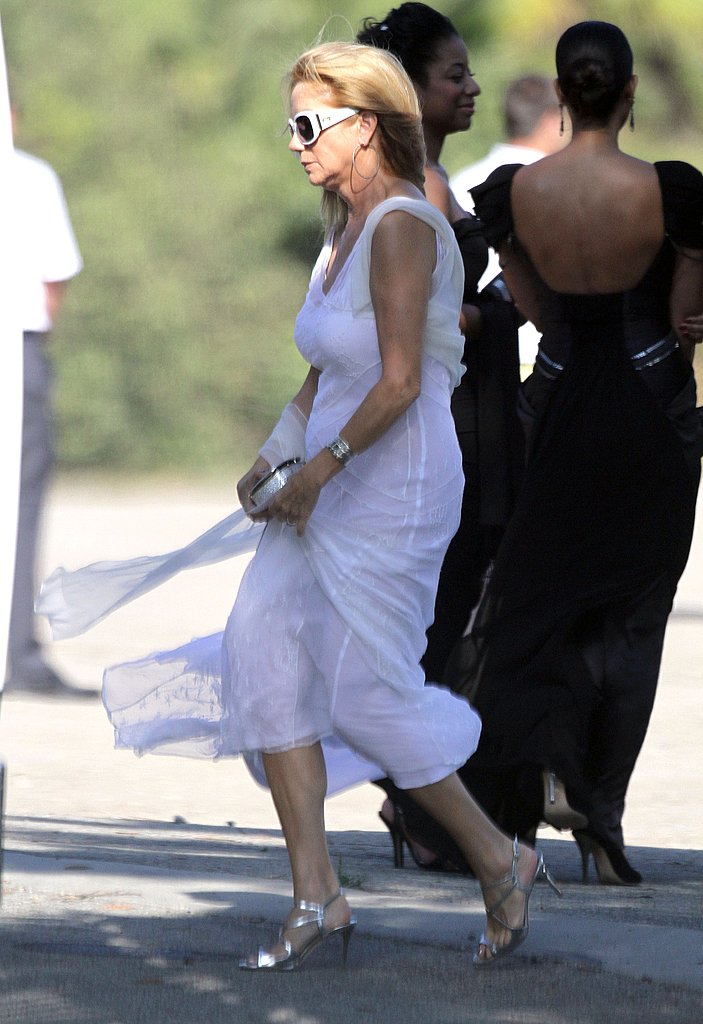 Kathy Lee Gifford in white at Kim Kardashian's wedding.