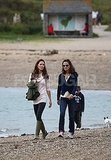Kate and Pippa Middleton on the beach.
