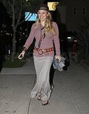 Hilary Duff left dinner with a bright glow.