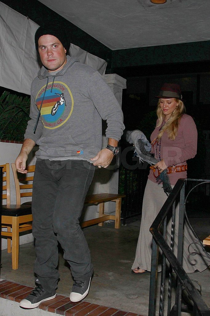 Hilary Duff and Mike Comrie dined out with friends and family.