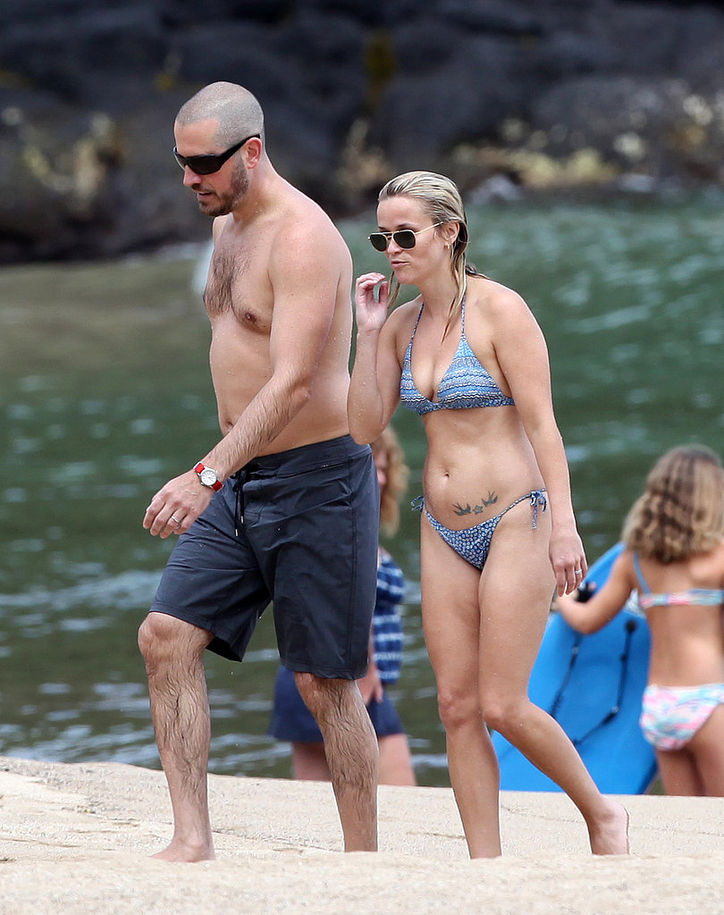 Reese Witherspoon in a bikini with her husband.