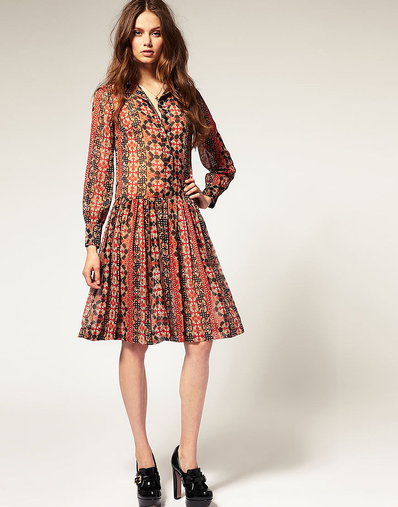A long-sleeved shirt dress in a cool aztec print.  ASOS Drop Waist Print Dress ($67)
