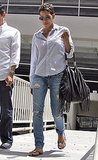 Reason 8: A wrinkled button-down and ripped jeans looks sexy, not tired, on Halle.