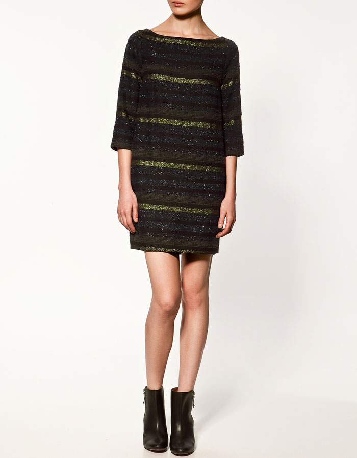 A sweater dress with cozy texture. Zara Metallic Thread Dress ($80)