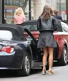 Pippa Middleton hops in her convertible.