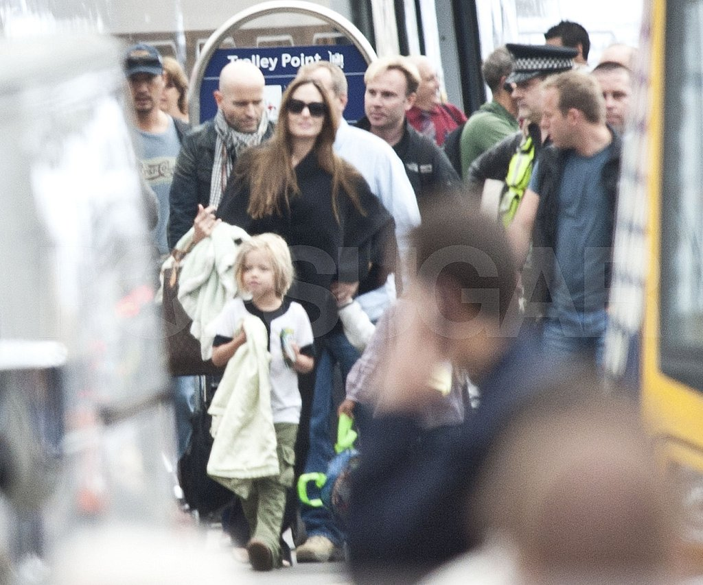 Angelina Jolie in Glasgow with Shiloh Jolie-Pitt.