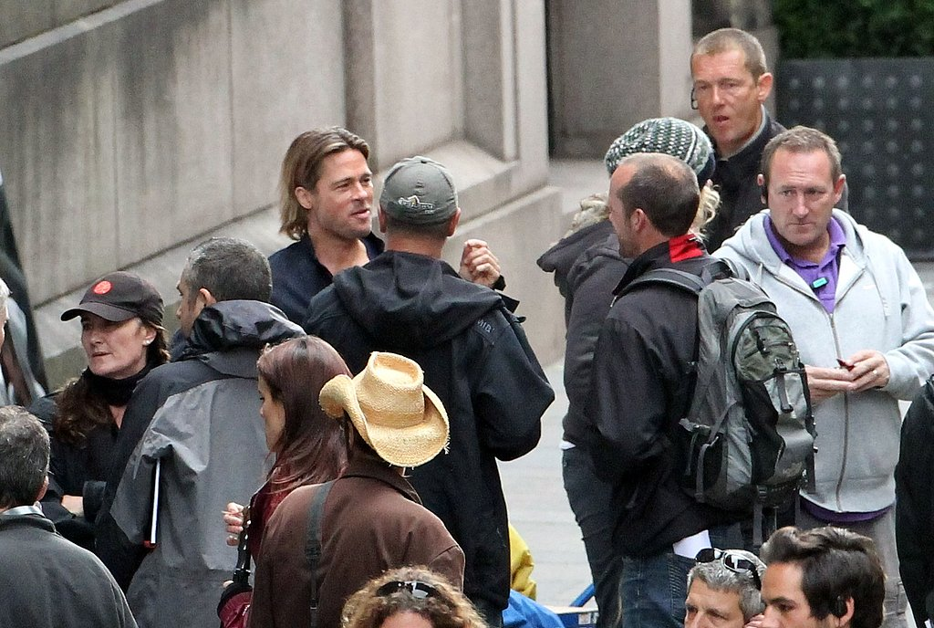Brad Pitt with crew for World War Z.