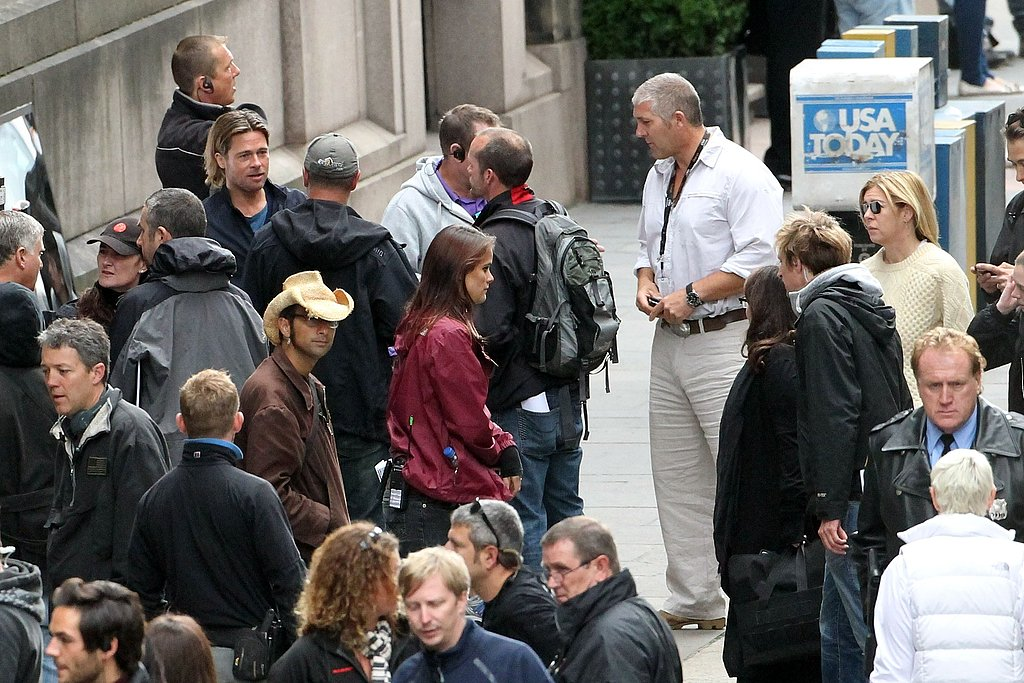 Brad Pitt on the World War Z set.