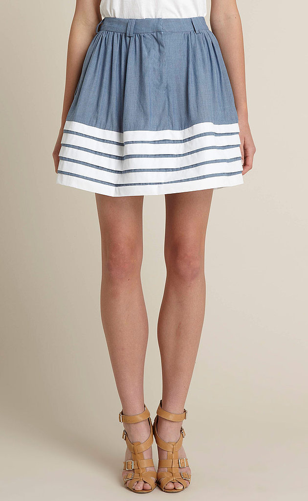 The white pleated detail is a sweet girly touch. Adam Contrast Pleat Denim Skirt ($225)