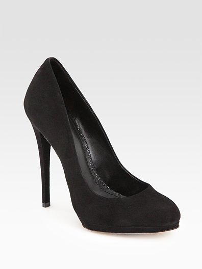 Fredrique Black Suede Almond-Toe Pumps ($325)