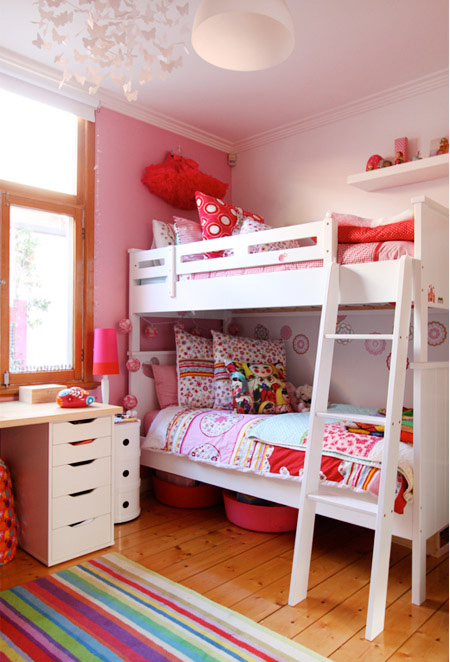Modern Girls Pink Shared Bedroom