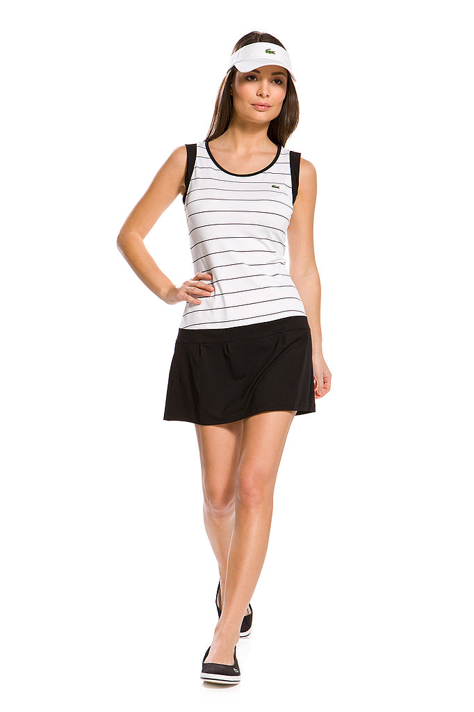 Sleeveless Technical Pique Striped Tennis Dress