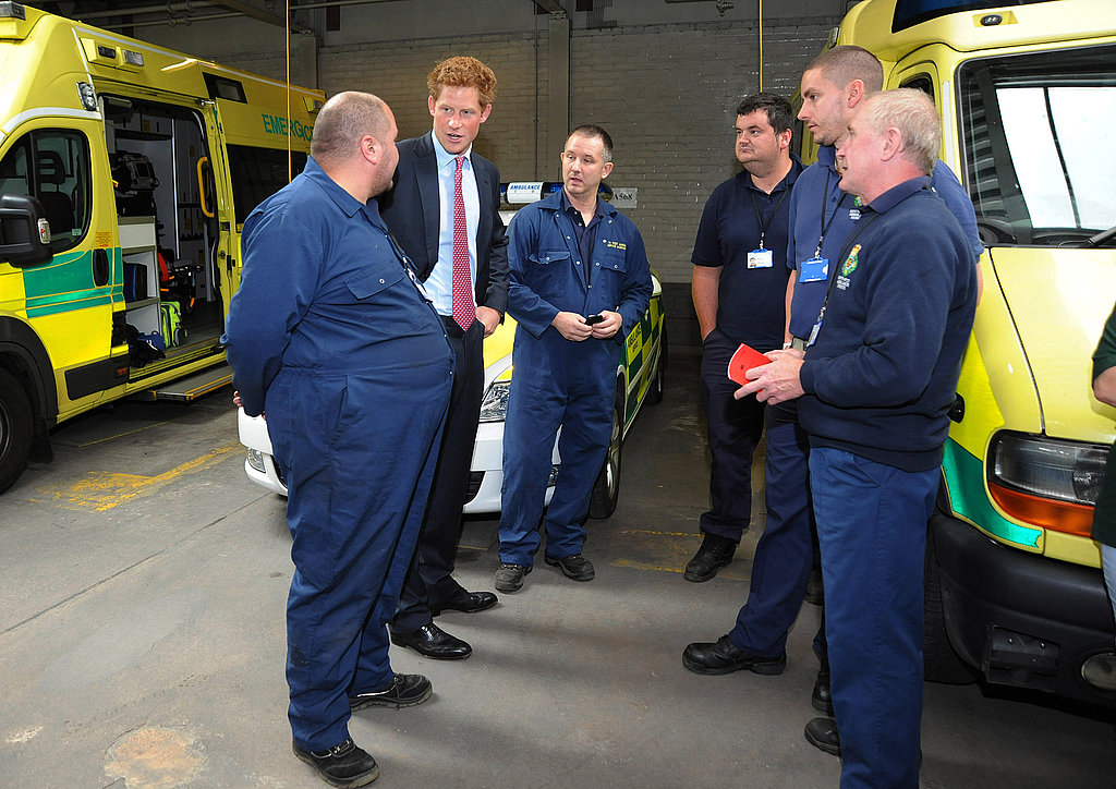 Prince Harry meets with emergency workers.