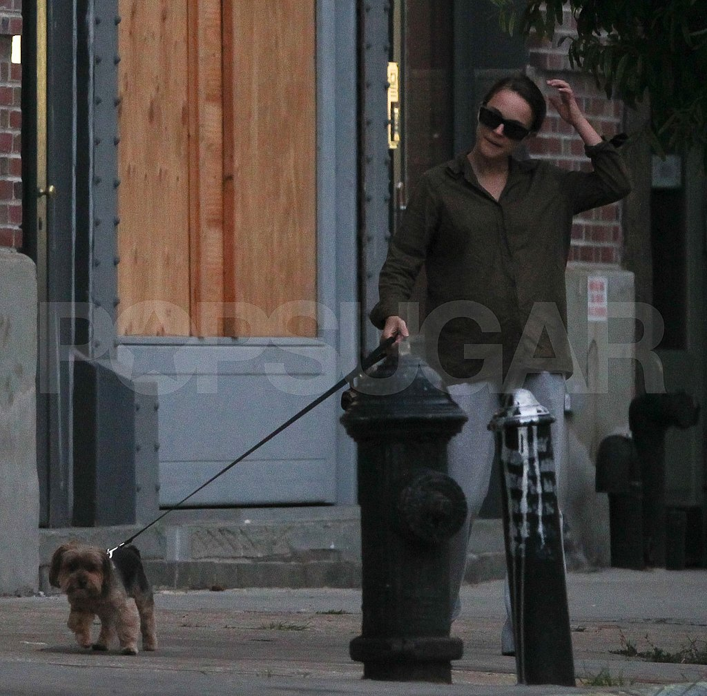 First photos of new mom Natalie Portman walking dog.