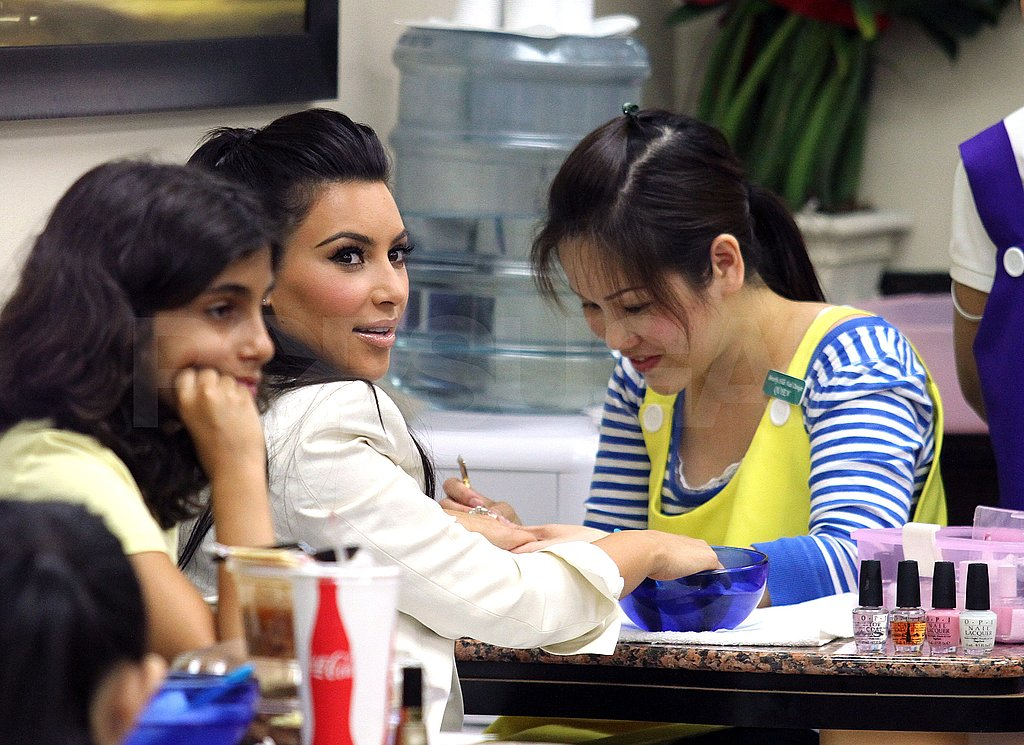 Kim Kardashian chatted with the salon staff.