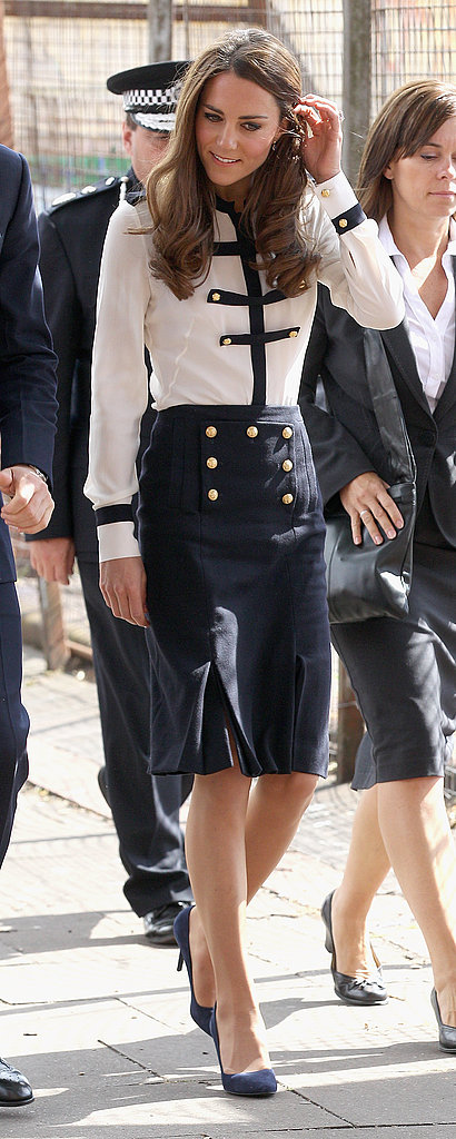 Kate Middleton in navy and white.