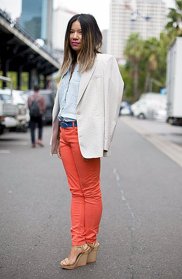 Bright jeans get polished with a tailored blazer. Photo courtesy of Phil Oh