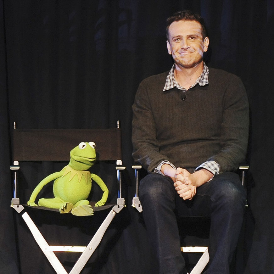 Jason Segel, Kermit the Frog, and Miss Piggy at D23 Pictures