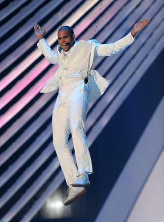 Chris Brown hovered over the stage and the audience during his performance.
