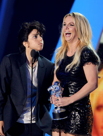 Britney Spears accepted the video vanguard award from Lady Gaga.