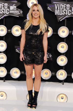 Britney Spears wore a sparkly romper.