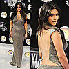 Kim Kardashian in Franco Kaufman Slinky Silver Dress at 2011 MTV VMAs