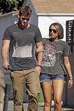 Miley Cyrus and Liam Hemsworth held hands leaving a jewelry store.