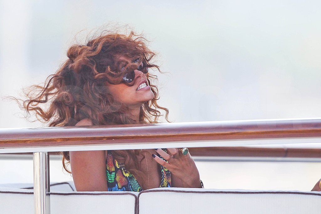 Rihanna let loose with friends in France.
