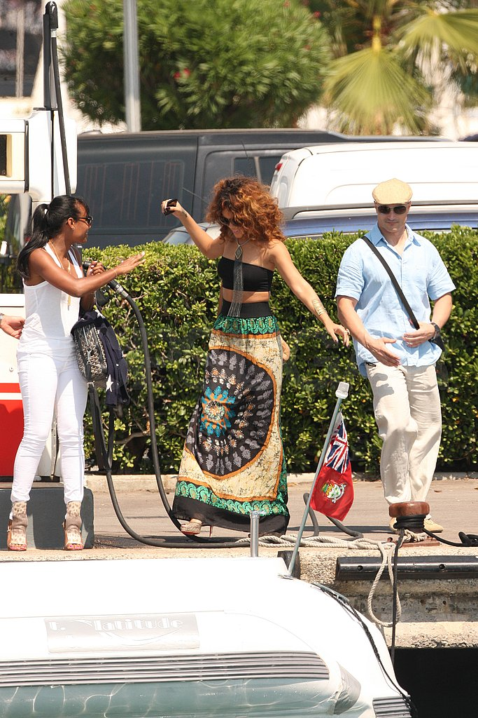 Rihanna wore a colorful skirt for her day cruise.