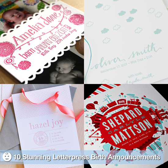 Make a Lasting Impression With These 10 Stunning Letterpress Birth Announcements