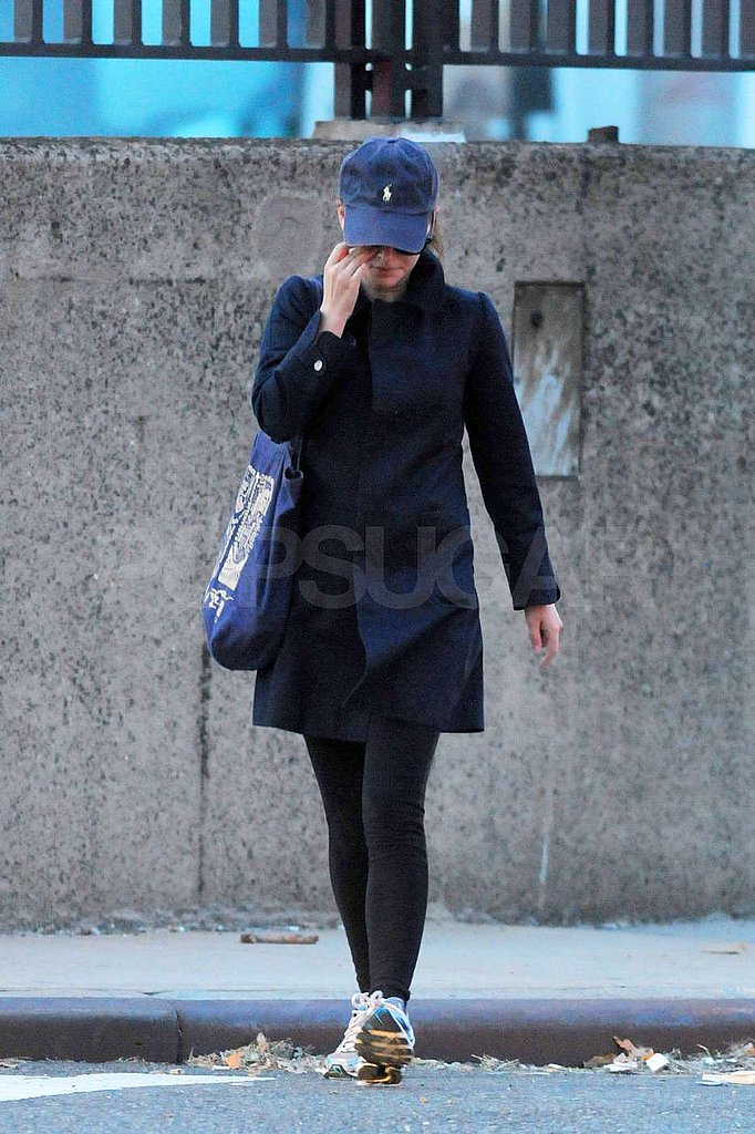 Natalie Portman wore a coat around NYC.