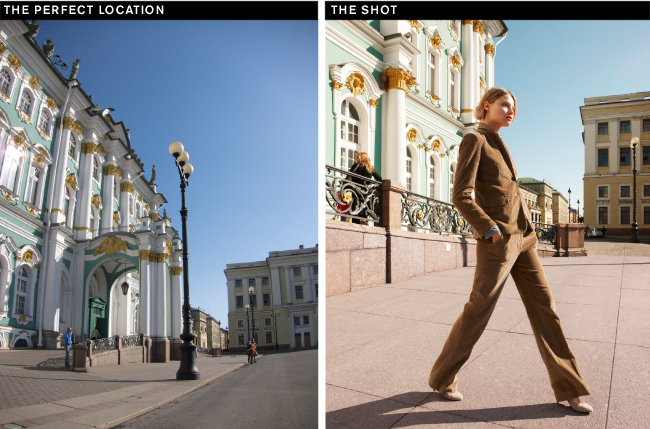 """We wanted the iconic Hermitage Museum to frame the model, not compete with her. Shooting at a low angle makes her long and elegant."""
