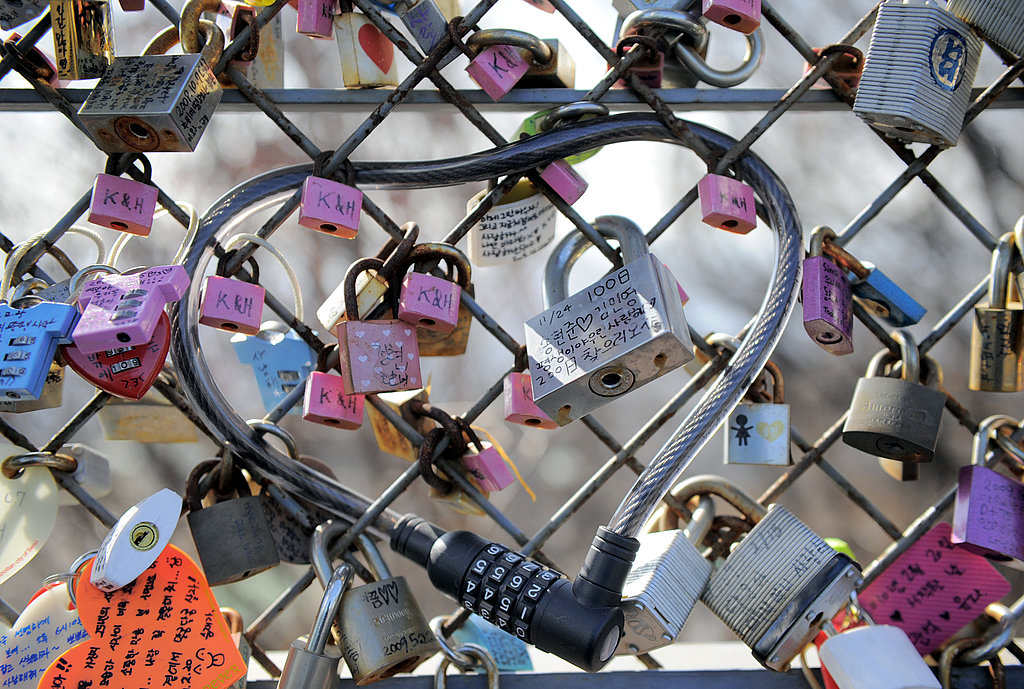 Locks of love on the top of Nam mountain in Seoul, South Korea.