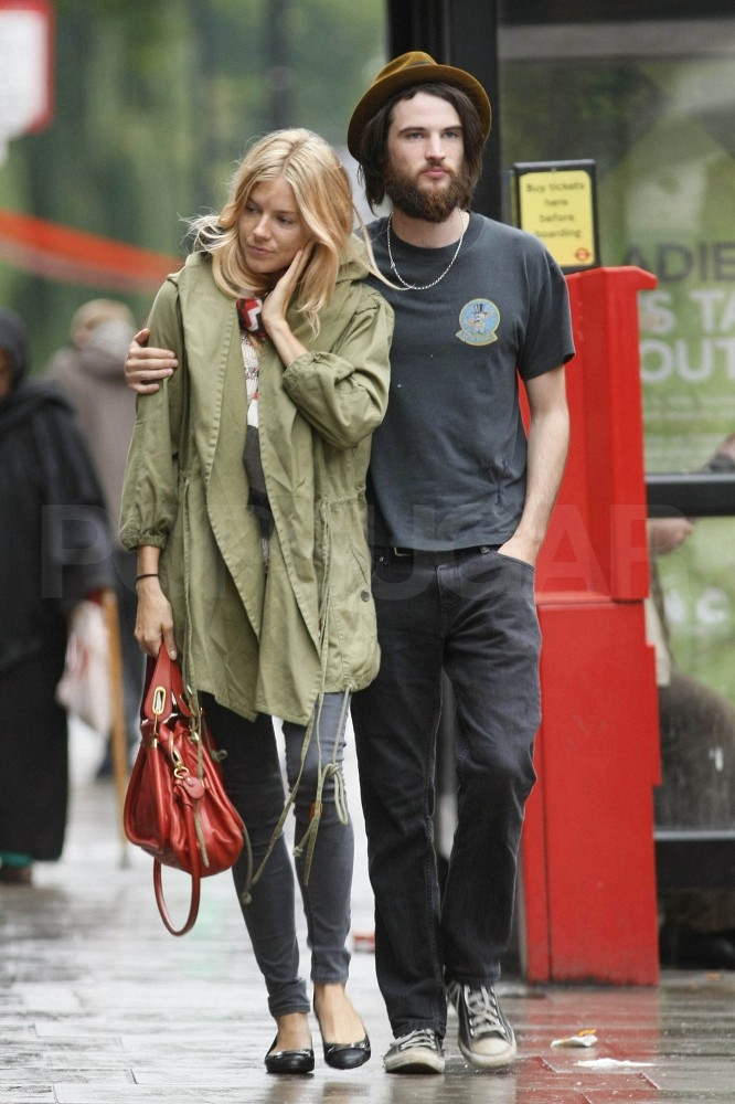 Tom Sturridge modeled a full and bushy beard for his day date with Sienna Miller.