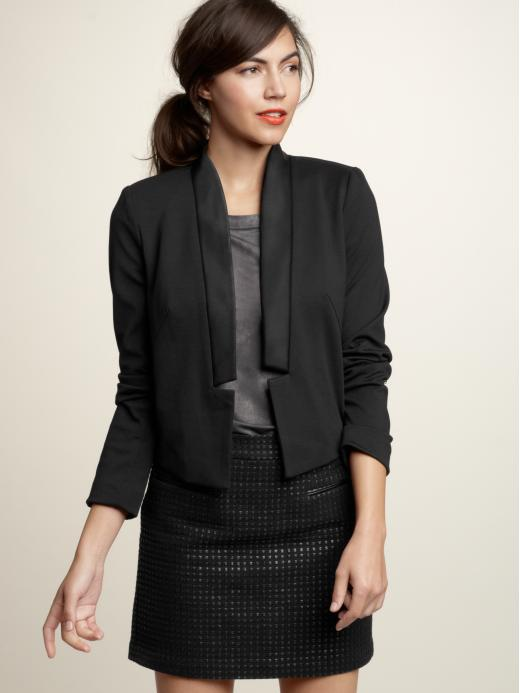 A cropped cut with a super skinny lapel.   Gap Ponte Tuxedo Jacket ($70)