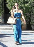 Alessandra Ambrosio in a blue maxi dress in LA.