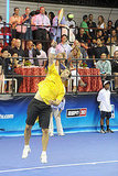 Pete Sampras wore bold black and yellow at the DIRECTV Old School Challenge in New York City, August 2011.