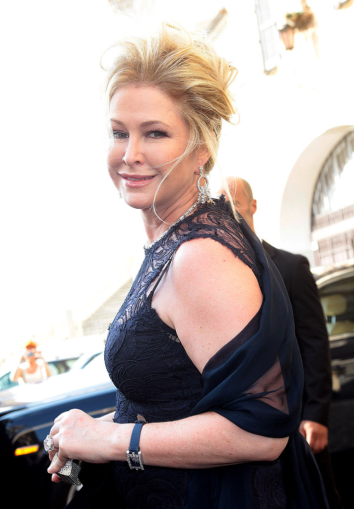 Kathy Hilton wore a black lace gown.