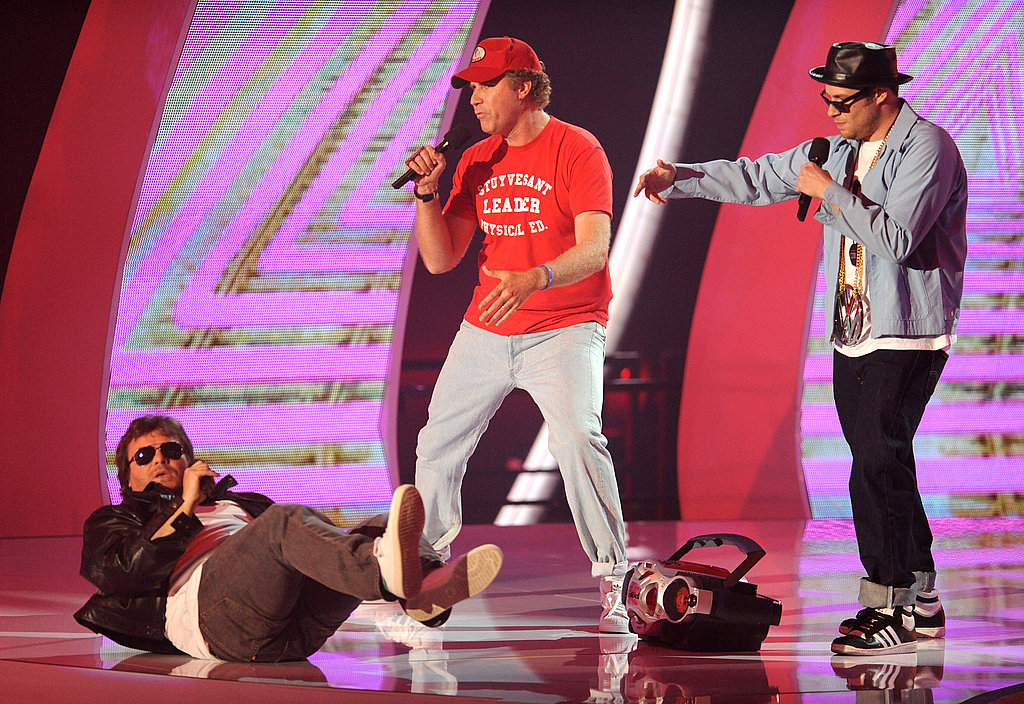 Jack Black, Will Ferrell, and Seth Rogen did their best Beastie Boys impression on stage.