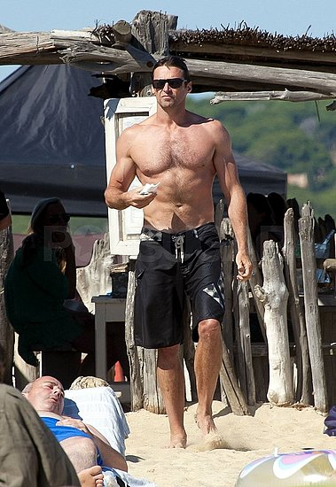 Shirtless Hugh Jackman Avoids Irene With a Family Trip to St. Tropez