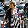 January Jones Pregnant Pictures in a Striped Dress